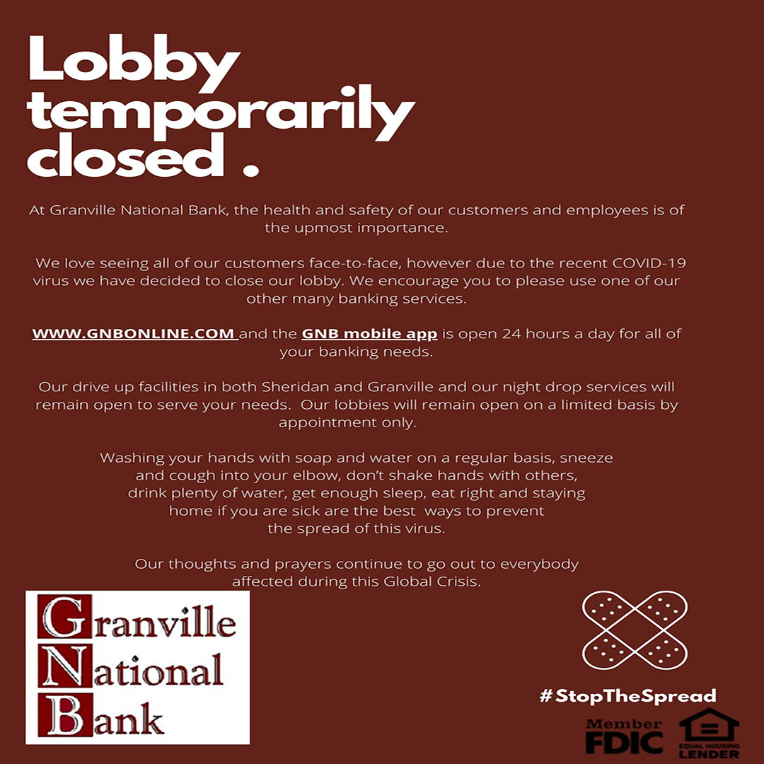Granville National Bank - Lobby Temporarily Closed